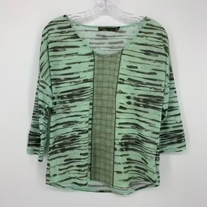 Prana  Blouse Green and Black Medium